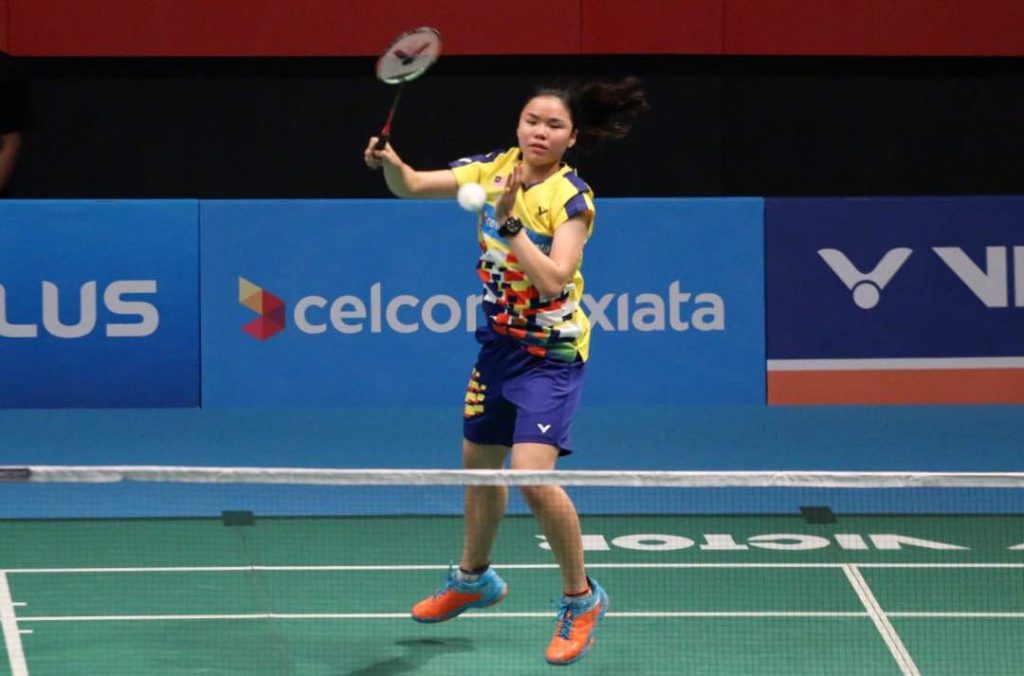 National women's single, Lee Ying Ying in action during her Celcom Axiata Malaysia Open 2018 match against Chiang Ying Li of Taiwan today.