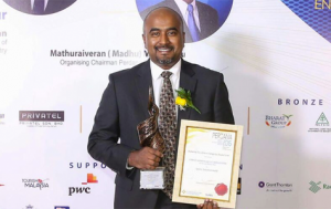 Christopher Raj was awarded the PERDANA Young Indian Entrepreneur of the Year for Sports Category