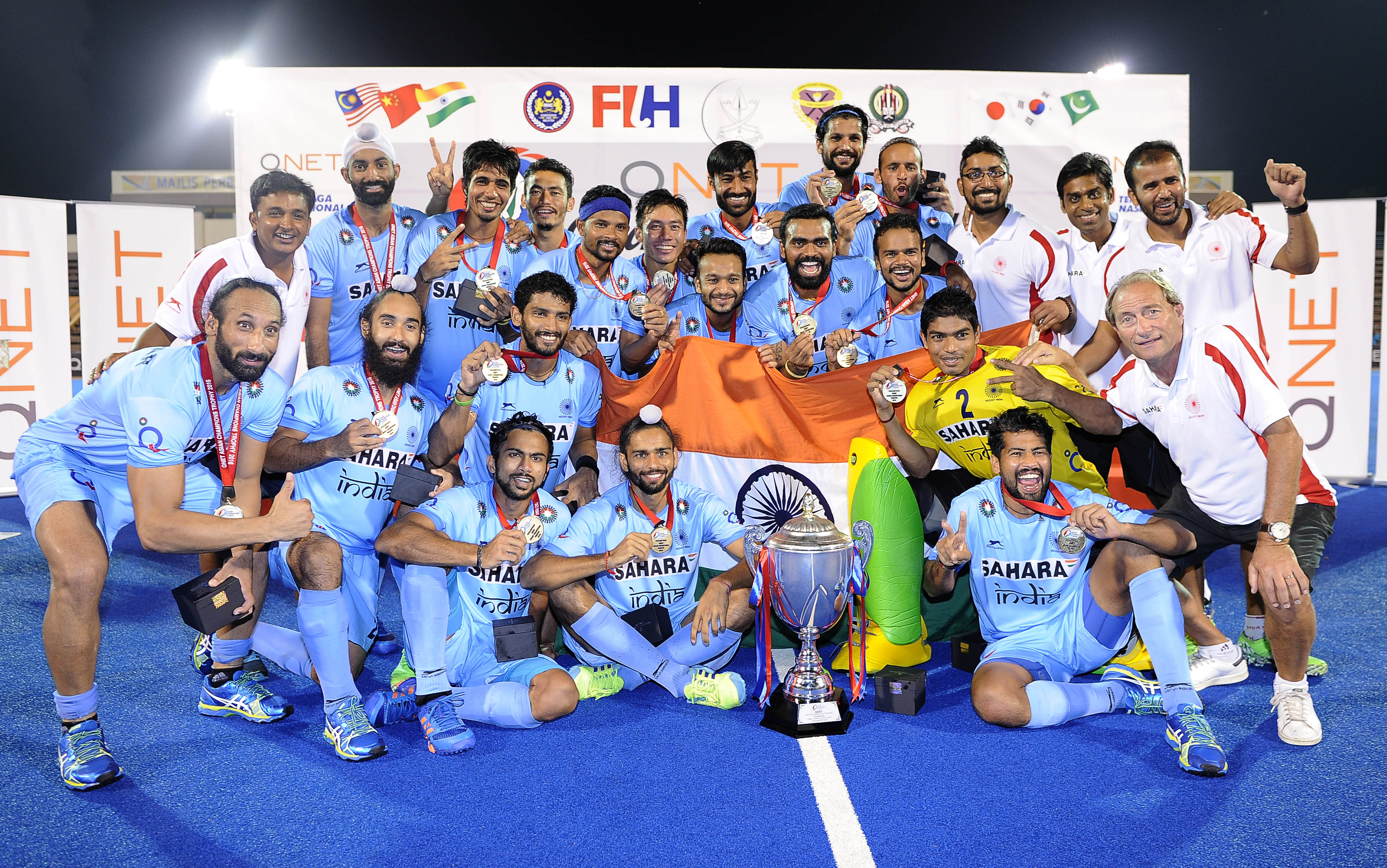 The Indian team celebrate after emerging as champions of the QNET Asian Champions Trophy 2016.